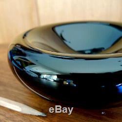 Alfredo Barbini Signed Glass Bowl Minimalist Black Murano Vtg MCM Modern Italian