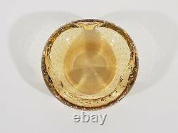 Amber Colored Bullicante Archimede Seguso Murano Hand Blown Glass Geode Bowl