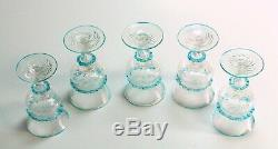 Antique 1800's Venetian Glass Rummers Set of 5 Clear & Blue RARE Murano Italy