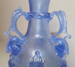Antique 19th century hand blown blue art glass Italian Murano Venetian vase