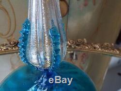 Antique Blue Salviati Murano Gold Flake Hand Blown Italian Art Glass Candlestick