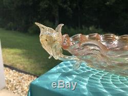 Antique C1890 Venetian Gold Fleck Diamond Optic Dolphin Bowl Salviati / Barovier