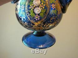 Antique Cobalt Blue Blown Italian Murano Glass Rosewater Tea Pot Decanter w Gold