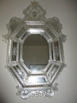 Antique Lrg. Murano Etched Venetian Hand Blown Glass Mirror