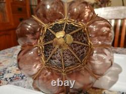 Antique Murano Hand Blown Purple Glass Caged Pendant Chandelier apx 12Hx10W