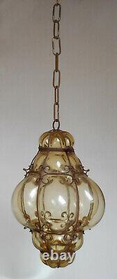 Antique Murano Venetian Lantern Hand Blown Caged Glass Hanging Ceiling Light