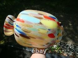 Antique VTG Large Murano Hand Blown Millefiori Splattered Studio Art Glass Vase