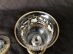 Antique Venetian Murano Glass Wine Goblets Gold and White Enameled Set of 9