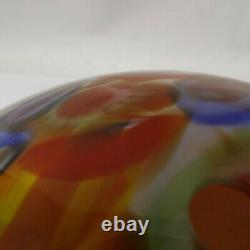 Antique Vtg Murano Crystal Glass Millefiori Lamp Shade Cased Hand Blown 12.5