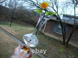 Antique Vtg Murano Hand Blown Glass Vase Set Flowers UV Glow Sea Glass Uranium