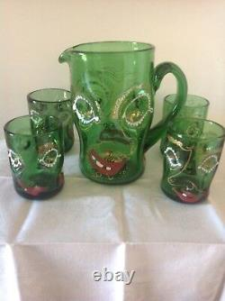 Anzolo Fuga Murano Glass Pitcher And 4 Drinking Glasses Grotesque Cca. 1948