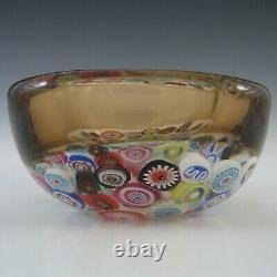 Archimede Seguso Murano Incalmo Millefiori Amber Square Glass Bowl