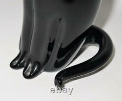 Art Glass Black Cat, Signed S Puccini MCM by Formia Murano Italy, 10 1/2 Tall