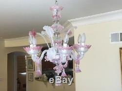 Authentic Venetian MURANO handblown pink glass Chandelier 6 arms 1972, Italy