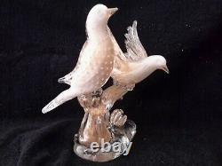 Barbini Vintage Lg. Italian Venetian Murano Hand Blown Sommerso Glass Birds