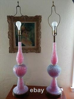 Barovier & Toso 20th Century Murano Pink and Lavender Opalescent Art Glass Lamps
