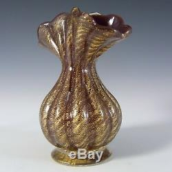 Barovier & Toso Murano 50s Cordonato Oro Gold Leaf Red Glass Vase