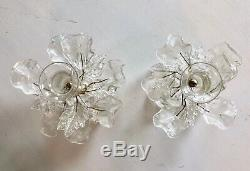 Barovier & Toso Murano Glass Clear Candlesticks w Poseable Wired Leaves