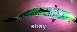 Beautiful Michael Hopko Rainbow Trout- Hand Blown Glass 16 Murano Style Signed