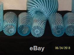 Blue Venetian Murano Swirl Opalescent Pitcher & 8 Tall Glass Set Hand Blown