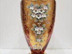 Bohemian Venetian Murano RUBY Vases Hand Painted Floral Enamel Gold 12