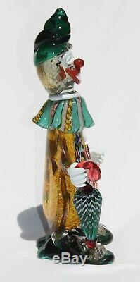 C1950 Mid Century Vintage Murano Venetian Glass Clown Figurine Latticino Details