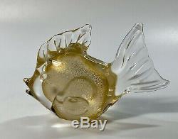 C1950s Archimede Seguso Signed Murano Italy Polveri Gold Inclusions Glass Fish
