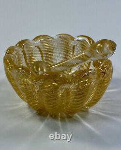 C1950s Barovier & Toso Murano Italy Cordonato d'Oro Series Glass Bowl & Pestle