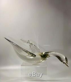 C1970s Livio Seguso Murano Italy Signed Clear Vaseline Glass Abstract Bird 15 L