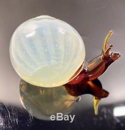 C1970s Luciano Gaspari Salviati Murano Signed Bullicante Opalescent Glass Snail