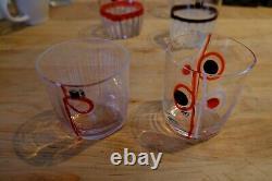CARLO MORETTI BORA Italian Art Glasses, quantity 6