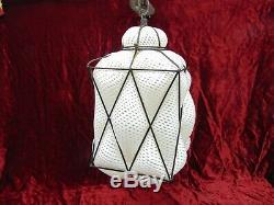 Caged Square Hand Blown Glass Hanging Lamp Murano White Venetian Reticello