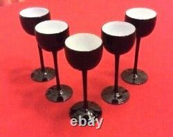 Carlo Moretti 5 Cordial Glasses cased Black and White