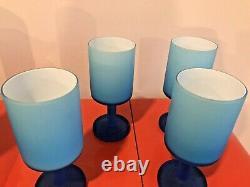 Carlo Moretti Blue Satin Cased Cups and Decanter Rare Italy Mid Century Modern