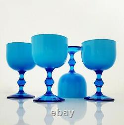 Carlo Moretti Cased Glass Goblets Blue White Murano Vintage Mid-Century Barware