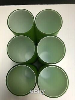 Carlo Moretti Mid Century Green Murano Satinato Iced Tea Glasses 7.25 RARE