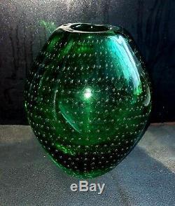 Carlos Scarpa Green Vase with Bullicante Bubbles Murano, Italy