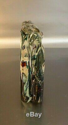 Cenedese Murano Italy Mid Century Fish Aquarium Art Glass Block 8.5 lb Sculpture
