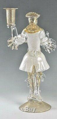 EARLY MURANO GLASS FIGURAL CANDLESTICK white ribbon clothing, Barovier Salviati