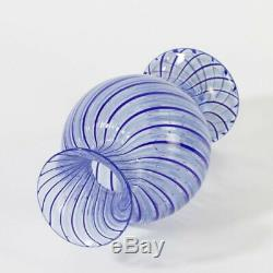 Early 1950-55 Cenedese a canne Murano glass vase blue pastel extremly fine piece