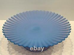 Effetre Murano Italy Opalescent Blue Glass 12.5 Cake Stand Dish