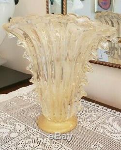 Ercole Barovier Repro Murano Glass 12 Vase Ventaglio Bullicante Gold Leaf