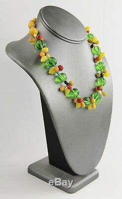 Estate Vintage Murano Hand Blown Carmen Miranda Glass Fruit Set Necklace Earring
