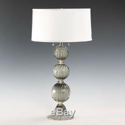 Exquisite Hand Blown Grey Murano Italy Venetian Glass Table Lamp, 31''H