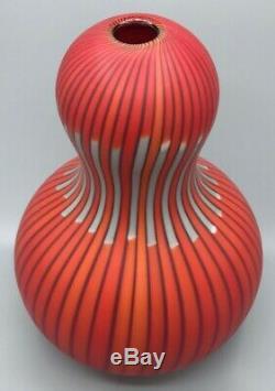 Exrare Murano Salviati Large Vase Red/grey/black Signed! Hand Blown! Stunning