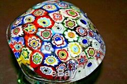 FINE Murano Style 3.5 Hand Blown Studio Art Glass Rainbow Millefiori Mushroom