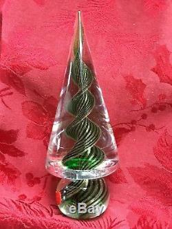 FLAWLESS Exquisite MURANO Italy Glass Cone CHRISTMAS TREE Green Gold SWIRLS