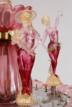 Ferro and Lazzarini Hand Blown Murano Glass Floor Fountain 1960's Original Box