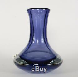 Flavio Poli for Seguso Murano Mid Century Modern Blue Clear Glass Vase