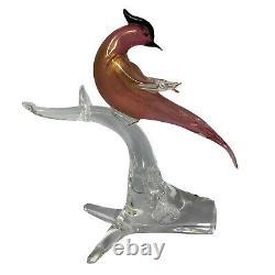 Formia Vetri di MURANO Art Glass Bird 12 Pink And Gold Glass Figurine Signed